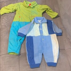 Lot of 2 baby boy rompers size 3m and 12m EUC